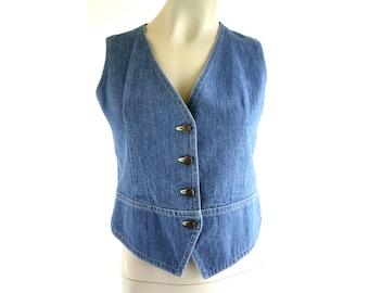 70's Vintage Woman's Lightweight Denim Classic Retro Jean Vest