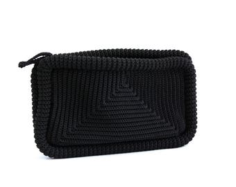 Vintage Black Woven Knit Accessory Bag