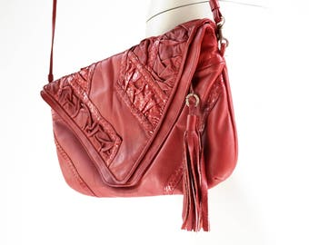 Red Hot Leather 90's Vintage Oversize Clutch Cross Body Retro Purse Tote Bag Handbag