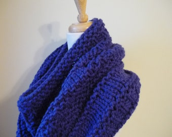 Knit Cowl,  Gift Ideas, For Her, Chunky Infinity Scarf, Circle Scarf, Neck Warmer, Snood, Textured Cowl in Cobalt Blue, Womens Accessories