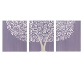 ON SALE Purple Wall Art Tree Painting on Triptych Canvas - Large 50x20