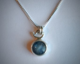 Tiny sterling silver and kyanite necklace