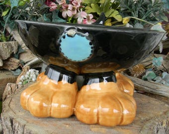 Dog Bowl with Paws and a little tail - Black Tan Hunting dog  - Great for fundraisers for rescues  Elevated Food Water Bowl