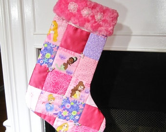 Disney Princesses Patchwork Quilted Christmas Stocking with Cinderella, Belle, Aurora, Tiana and Rapunzel can be Personalized