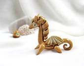 Tiny Honey-Turquoise Romantic dragon -- unique Hand Made Ceramic Eco-Friendly Home Decor by studio Vishnya