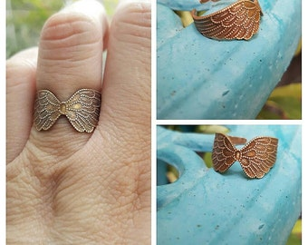 Brass wings adjustable ring, brass ring, Bff gift, angel wings ring
