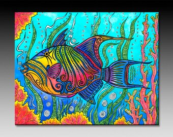 Trigger Fish Ceramic Tile Wall Art
