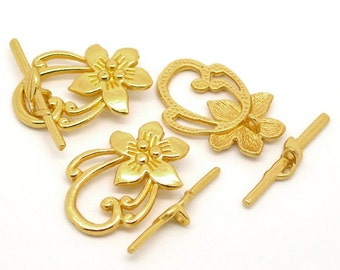 Gold Plated Flower Toggle Clasp - 4 Sets - #HK1269