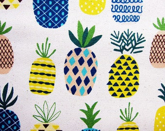 Pineapple Fabric - Japanese Fabric Cotton Canvas - Pineapples on Natural - Fat Quarter - Cosmo Textile