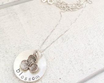Dogwood necklace.