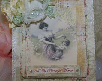 Mothers Day Card Cards for Mother All Occasion Cards for Mother Handmade Vintage Style Mixed Media