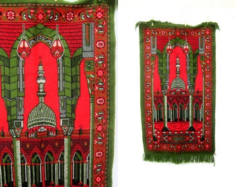 Vintage Taj Mahal Temple Tapestry Retro Kitschy Felt Fringed Wall Hanging Picture Hipster Red and Green Home Decor