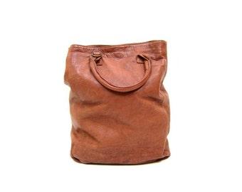 Vintage Brown Leather Bag LARGE Supple Leather Handbag Tote Purse Shoulder Strap Purse Satchel Messenger Bag Boho Hobo Bag 90s