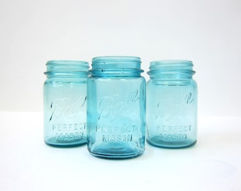 Blue Perfect Pint Mason Ball Jars Wedding Vase Home Decor Storage Set of 3 Collection of Jars Primitive Rustic Canning Jars