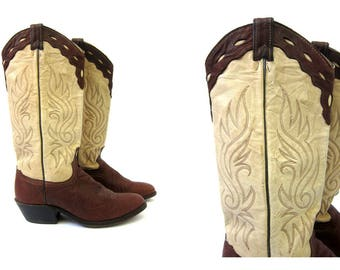 80s leather cowgirl boots Brown BOHO boots Tall western cowgirl boots Pointy toe boots Women's Southwestern Shoes Size 7.5