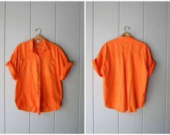 80s Button Up Tshirt Neon Orange SURFER Shirt Oversized Retro Hipster Tee California Boyfriend Boho Short Sleeve Top Mens Medium