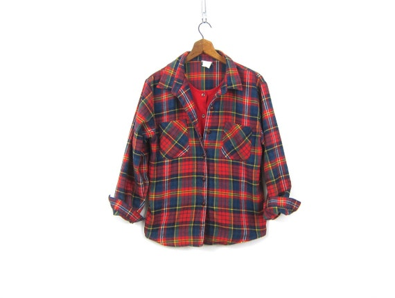 1980s Flannel Shirt Vintage 80s GITANO Flannel Red Plaid Shirt Button Down Preppy Grunge Built in Tank Top Women Medium Large XL