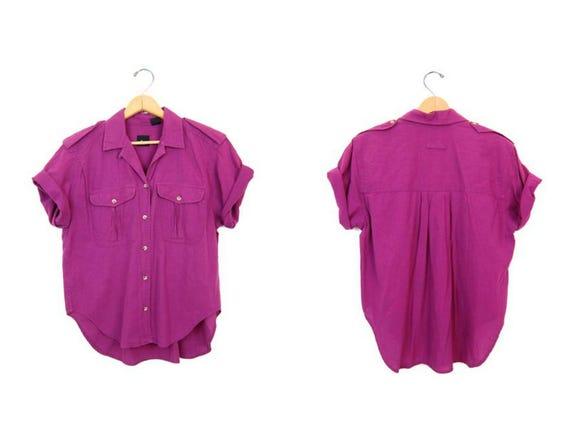 Deep Pink Shirt Modern Short Sleeve Minimal Blouse Button Up Cotton Safari Outback Shirt Basic Boho Hipster TShirt DES Womens Small