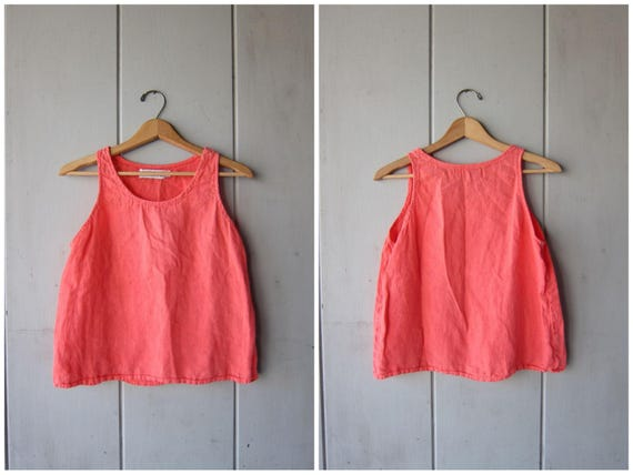 90s Salmon Pink Linen Tank Top Cropped Sleeveless Blouse Minimal Modern Boxy Tank Slouchy Loose Fit Tank DES Vintage Womens Medium Small