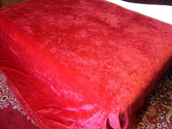 Vintage Red Crushed Velvet Bedspread blanket quilt with fringe Retro 1970s Dramatic Boho Bohemian Chic Bedroom Home Decor