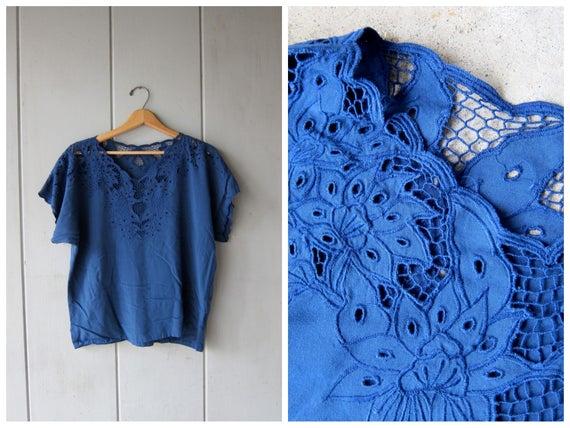 Cut Out Blouse Oversized Slouchy Blue Top Boxy BALI TShirt 80s Minimal Boho Floral Shirt Embroidered Cutwork Tee DES Womens Large