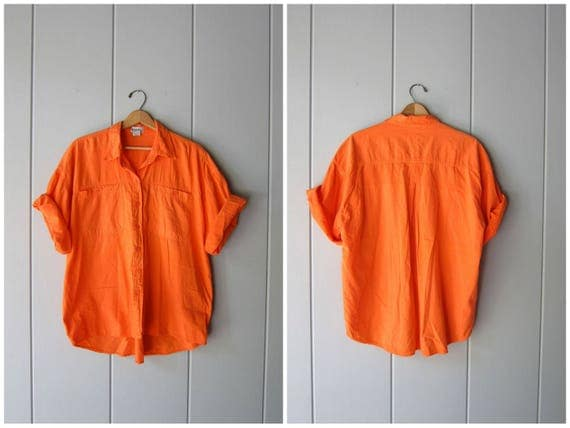 80s Button Up Tshirt Neon Orange SURFER Shirt Oversized Retro Hipster Tee California Boyfriend Boho Short Sleeve Top Mens Medium