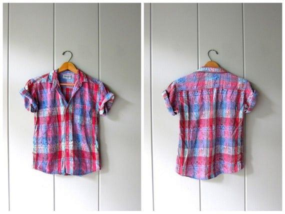 Thin Cotton Beach Vibes Shirt 80s Tropical Button Up Tshirt Vintage Retro Block Print Tee Hipster Boho Pink Blue Purple Shirt Womens XS