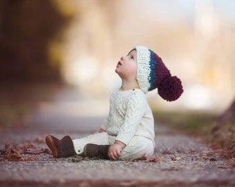Knit baby hat. Baby beanie, knit baby Pom Pom hat, The Sebastian Pom Pom beanie, knit wear, knit baby accessory, winter hat, fall hat