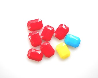 Large beads, rectangle puffy faceted beads, acrylic beads, Bright red beads, Yellow bead, Turquoise bead Sale Beads