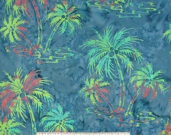 Bali Batik Fabric - Palm Trees on Blue - Princess Mirah Quilt Cotton YARD