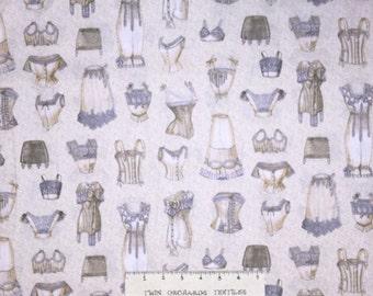 Fashion Fabric - Unmentionables Vintage Bra Nightgown Beige Robert Kaufman YARD