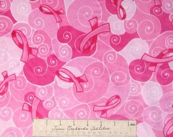 "Ultra Soft Minky Fabric - Breast Cancer Awareness Pink Ribbon 58"" Wide x YARD"