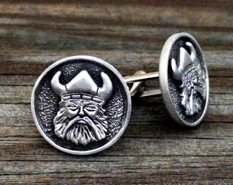 Norse Viking Metal Cufflinks | Men's Cuff Links | Gifts For Him | Handcrafted Norse Style Viking Pewter Cuff Links | by Treasure Cast Pewter