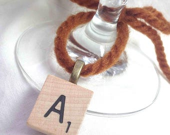 Rustic Wedding Scrabble Wine Glass Charms - Antique Brass - Choose 6 Letters - Natural Personalized Authentic Retro - Extra charge for J & K