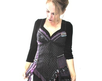 Handmade Purple Upcycled corset top from BASIA DESIGNS Vintage Collection - Free U.S. Shipping