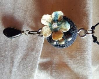 Black flower Cork Sliced Pendant-Mixed Media