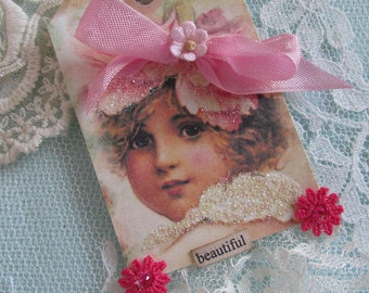 Mixed Media Gift Tag Handmade Card Hand Made Birthday Card Altered Art Card Shabby Tag Lace Hang Tag