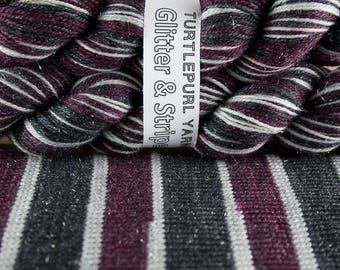 Gothic Plum - Hand-dyed Self-striping Glitter sock yarn