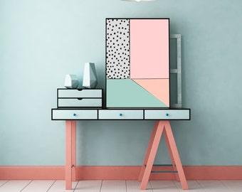 Abstract Minimal Digital Painting Holly's Home by Jules Tillman - Fine Art Lustre Print Modern Wall art. Minimal Art. Peach pink dotty black