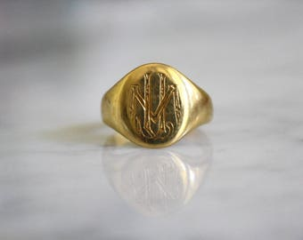 VICTORIAN SIGNET 22K gold antique vintage initial JLM ring size 4.25 circa 1870s