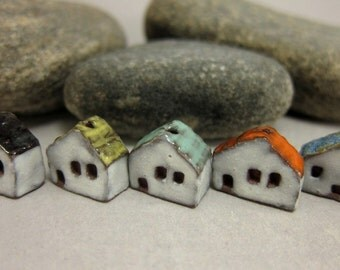 READY TO SHIP...5 (five) Miniature House Beads in Rustic Stoneware