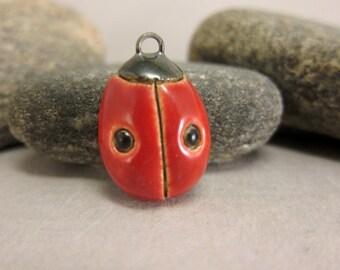 Ceramic Ladybug Pendant...Two Dots