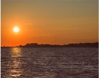 Ocean Photograph, Sunset Photo, Beach Decor, Seascape, Coastal Photography, New England, Landscape, Wall Art, Orange, Slate Grey, Black