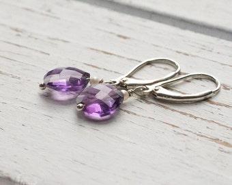 Amethyst Earrings - Silver