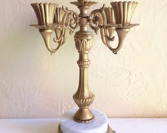 Beautiful Large Vintage Hollywood Regency Candelabra Gold with Marble Base