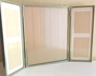 Unique Large Tri-fold Gold Metal Hinged Picture Frame Tryptich Triple with Matting