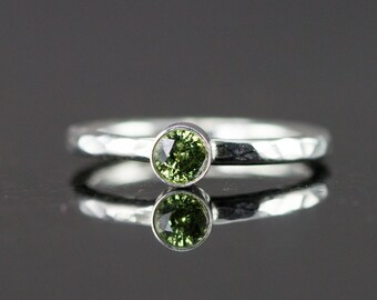 Demantoid Garnet Sterling Ring - Sage Green Garnet Gemstone Stacking Ring