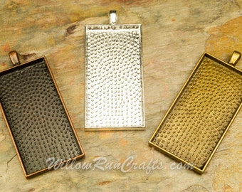 30 pcs  1 7/8 x 7/8 inch Rectangle Pendant Trays, Antique Bronze, Antique Copper and Silver  Size is 1 7/8 x 7/8 inch,Bezel Cabochon Setting