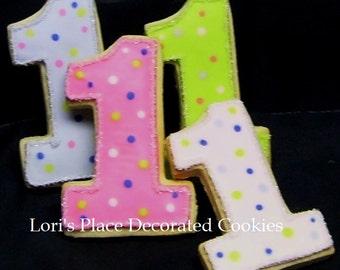 Numbr One Cookies - First Birthday Cookies - 12 Cookies