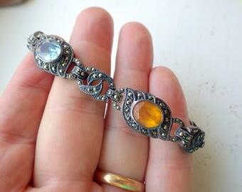 Multistone Sterling Silver Bracelet - Citrine - Peridot - Blue Topaz - Amythyst - Marcesite - Vintage